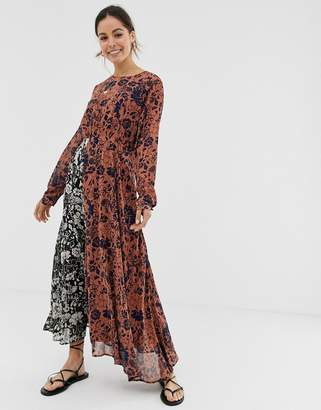 GHOSPELL long sleeve midi dress in contrast mix match print