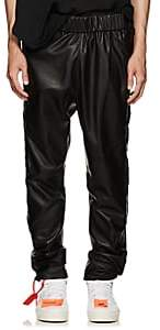 CARDONI Men's Star-Detailed Leather Track Pants - Black