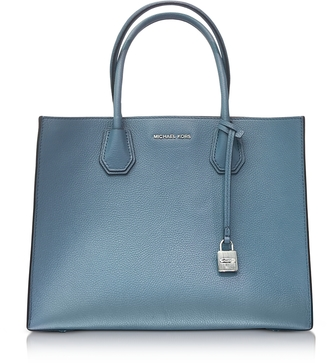 Michael Kors Mercer Large Denim Pebble Leather Convertible Tote Bag