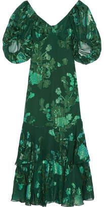 Anna Sui - Ruffled Fil Coupé Silk-blend Chiffon Midi Dress - Green