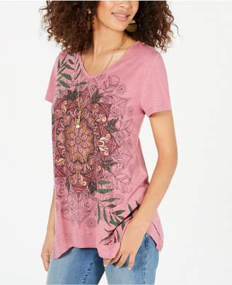 Style&Co. Style & Co Graphic Handkerchief-Hem Top
