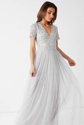 7c49ca07 Next Womens Maya V neck Short Sleeve Sequin Maxi Dress