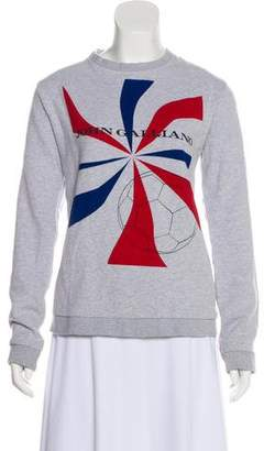 John Galliano Printed Long Sleeve Sweatshirt