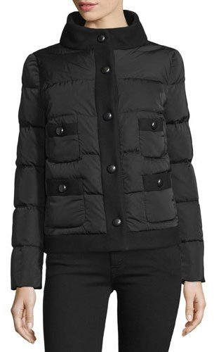 Moncler Moncler Naimi Snap-Front Puffer Jacket, Black