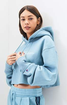 Champion Light Blue Reverse Weave Cropped Hoodie