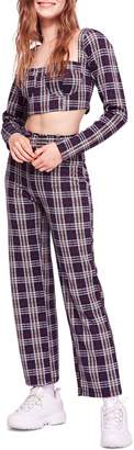 Free People Modern Love Plaid Crop Top & Belted Pants