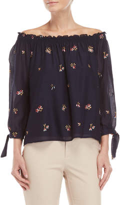 Max Studio Off-The-Shoulder Embroidered Floral Top