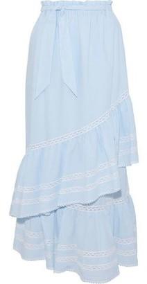 cefd30b4c9 Jonathan Simkhai Lace-trimmed Striped Seersucker Maxi Skirt