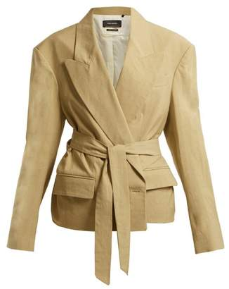 Isabel Marant Riller Peak Lapel Linen Blend Jacket - Womens - Khaki