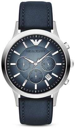Emporio Armani Quartz Chronograph Blue Leather Watch, 43 mm
