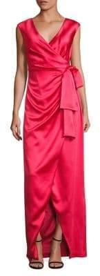 Theia Stretch-Satin Faux Wrap Gown