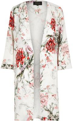 River Island Womens White floral print duster coat $130 thestylecure.com