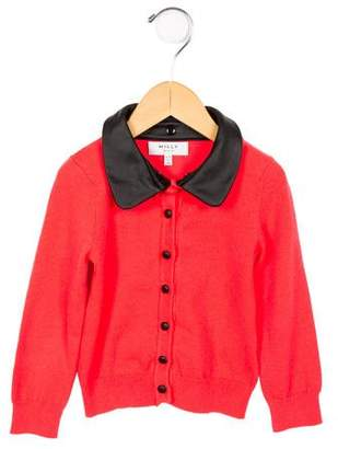 Milly Minis Girls' Contrast Collared Cardigan
