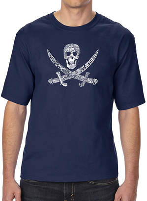LOS ANGELES POP ART Los Angeles Pop Art Men's Tall and Long Word Art T-shirt - PIRATE CAPTAINS, SHIPS AND IMAGERY