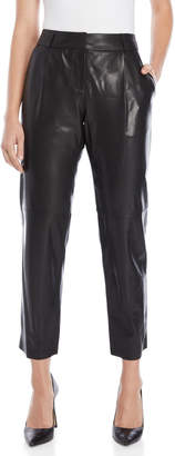 Milly Black Pleated Leather Pants