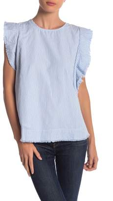 Elan International Frayed Cap Sleeve Striped Tee