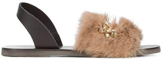 Fabio Rusconi gem and fur embellished sandals
