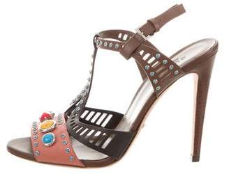 Gucci Leather Stone-Embellished Sandals