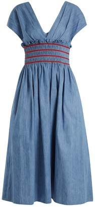 Miu Miu V-neck smocked cotton-chambray dress