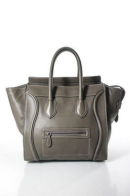 Celine Celine Gray Leather Mini Luggage Tote Handbag Size Medium