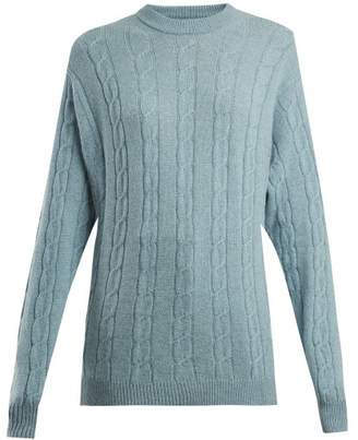 Connolly - Clarke Cable Knit Cashmere Sweater - Womens - Light Blue