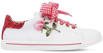 MonnaLisa Rose Patch Leather Sneakers