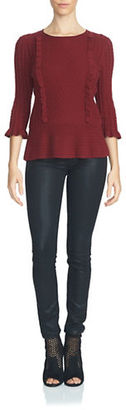 1 State Cable Front Peplum Sweater $89 thestylecure.com