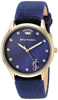 Juicy Couture Black Label Women's JC/1060NVNV Swarovski Crystal Accented Gold-Tone and Navy Blue Velvet Strap Watch