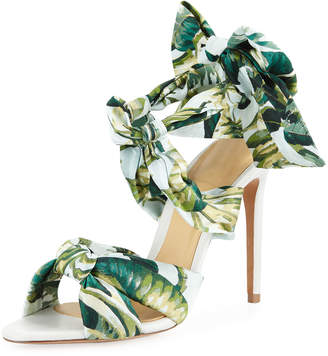 Alexandre Birman Kacey Printed Fabric Ties Stiletto Sandals
