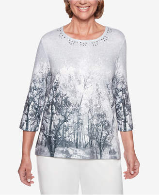Alfred Dunner Petite Embellished-Neck Tree-Print Top
