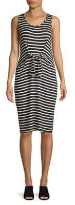 Lord & Taylor Sleeveless Tie Front Stripe Dress