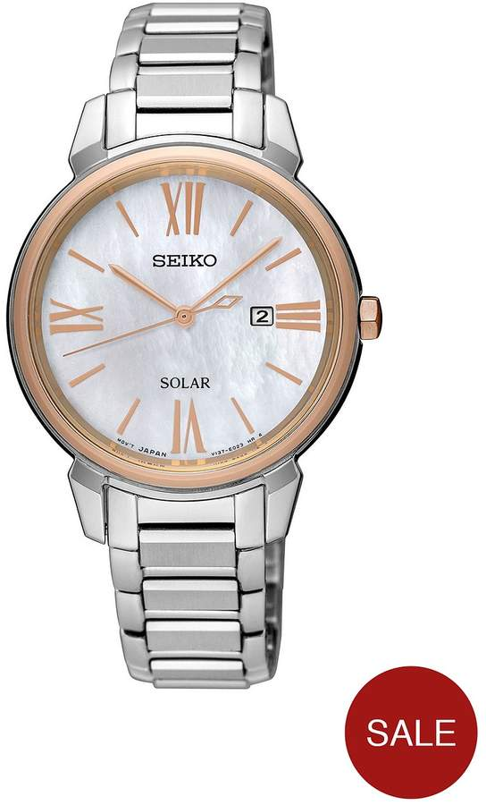 Mother Of Pearl Dial Two Tone Ladies Watch