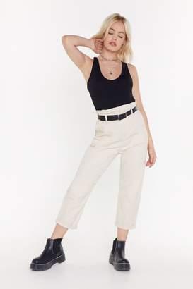 Nasty Gal Womens Take A Walk Paperbag Mom Trousers - Beige - L