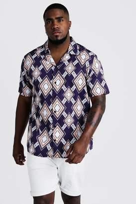 boohoo Big & Tall Large Aztec Print Revere Collar Shirt