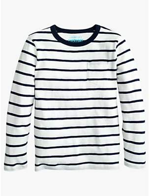 J.Crew crewcuts by Boys' Long Sleeve Striped T-shirt, Ivory