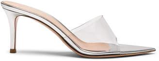 Gianvito Rossi Nappa Silk & Plexi Mules in Silver & Transparent | FWRD