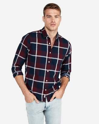 Express Slim Large Plaid Soft Wash Button-Down Shirt