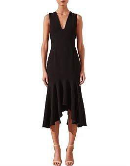 Shona Joy Arbella Plunged Trumpet Midi Dress