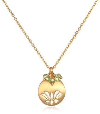 Satya Jewelry August Peridot Lotus Adjustable Birthstone Pendant Necklace
