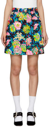 MSGM Multicolor Denim Floral Miniskirt