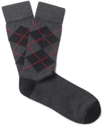 Alexander McQueen Argyle Stretch Wool-Blend Socks