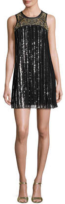 Parker Gida Sequined Chiffon Shift Dress $448 thestylecure.com