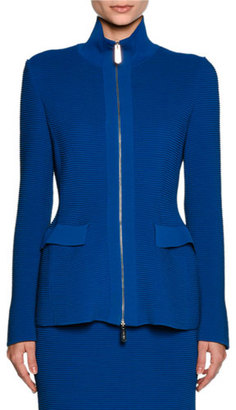 Giorgio Armani Ottoman Knit Flap-Pocket Zip Jacket, Electric Blue $3,295 thestylecure.com