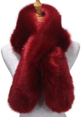 fashion suit Women's Fake Faux Fur Scarf Wrap Cap Stole Collar Scarf Wrap Shrug Shawl