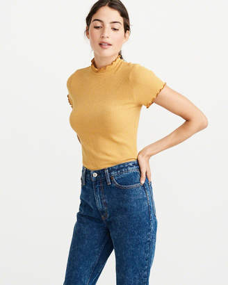 Abercrombie & Fitch Mockneck Ribbed Tee