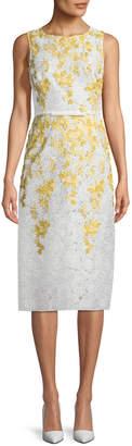 Giambattista Valli Floral-Embroidered Lace Sheath Dress