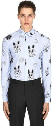 McQ Bunny Sticker Print Cotton Poplin Shirt
