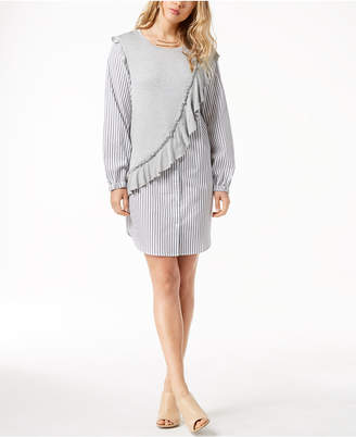 Kensie Knit Ruffle Striped Shirtdress