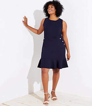LOFT Plus Button Pocket Flounce Dress