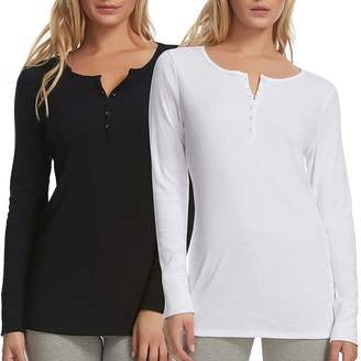 Felina 2 Pack Women's Long Sleeve Rib Knit Henley Tee Black White Size M